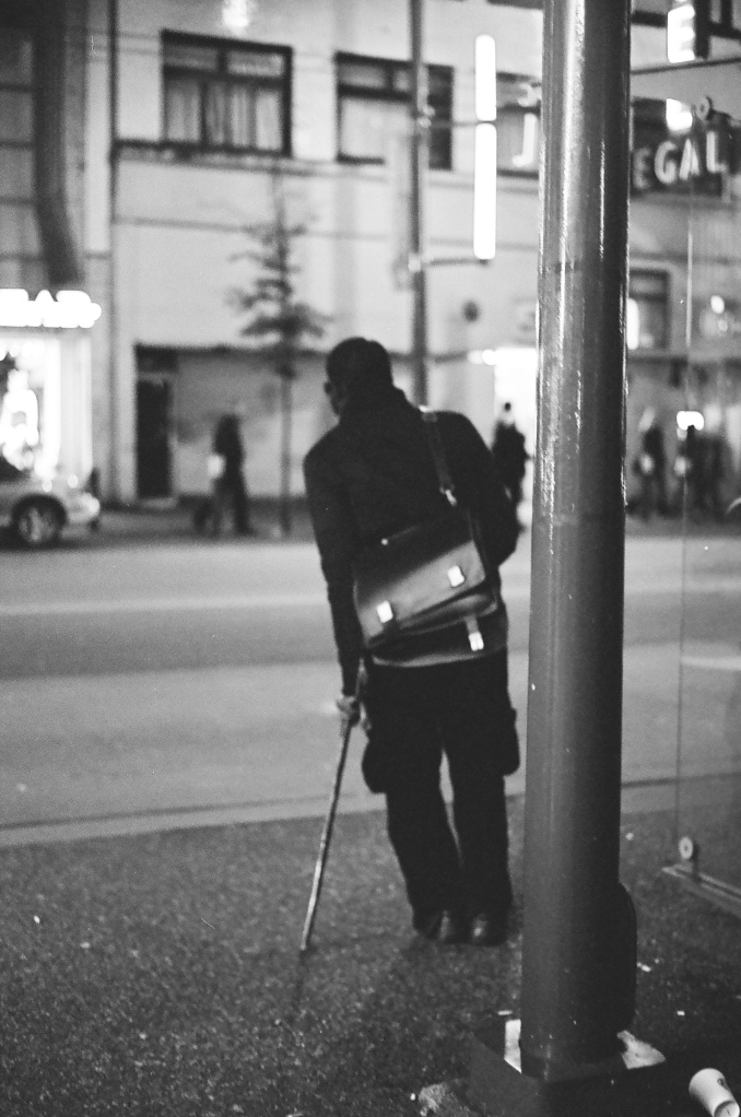 This guy was trippin pretty hard.  Looks like he found is crutch though.